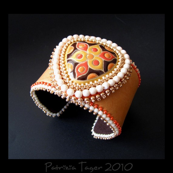 SALE 25% OFF - Trillium - Orange, Cream & Brown  Bead Embroidered Leather Beaded Cuff