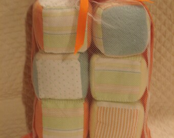 Orange and Blue Fabric Blocks