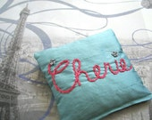 Lavender Sachet Hand Embroidered on Dupioni Silk by Dolce Dreams