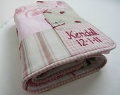 Baby Girl Personalized Quilt with Custom Hand Embroidery by Dolce Dreams