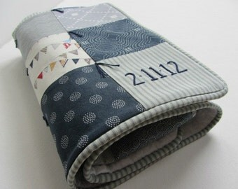 Baby Quilt With Personalized Name and Date Hand Embroidered ~ Nursery Decor ~ Navy Grey White Beige ~ Moda's Reunion ~ Flags Stripes Dots ~