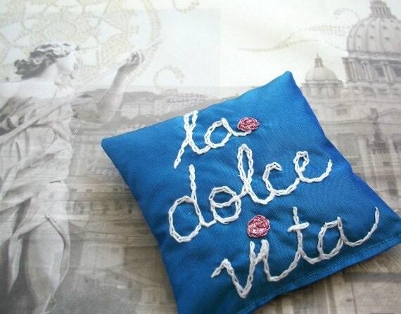 Lavender Dupioni Silk Sachet with Hand Embroidery ~ La Dolce Vita ~ Italian Gift ~ Blue White Pink ~ The Sweet Life ~ Stocking Stuffer ~ Spa
