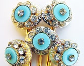 Blue Hair Accessories Upcycled Turquoise Rhinestone Bobby Pins