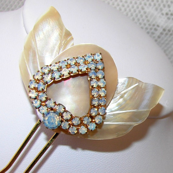 Heart Wedding Hair Comb Rhinestone Vintage Mother Of Pearl Opal Glass