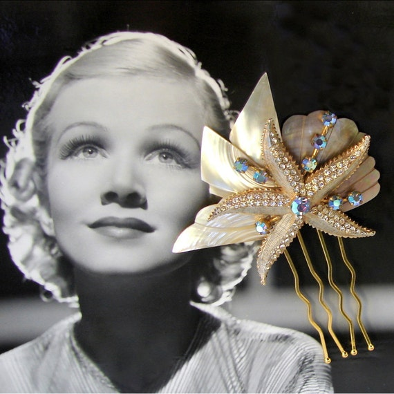 Mother Of Pearl Wedding Hair Comb Vintage Weiss Starfish Jewelry Blue Rhinestones MOP Abalone