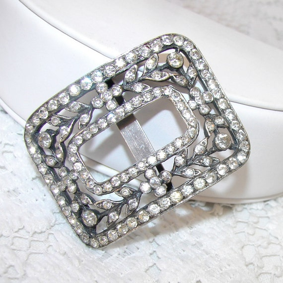 Diamond Rhinestone Buckle Antique Victorian - Aikin Lambert & Co. ALCo - A. L. Co. France