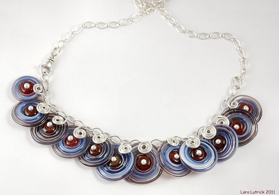 Wire Wrapped Discs Handmade Lampwork Glass Beaded Necklace