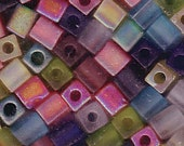 Miyuki 4mm Glass Cube Bead Mix TRANS MATTE RAINBOW 10 Grams 915279
