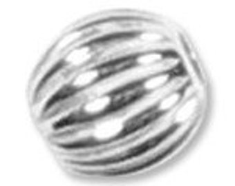 50 3mm Sterling Silver Round CORRUGATED Beads 31016