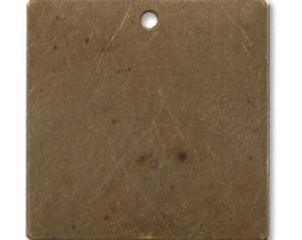 Vintaj Natural Brass Rustic Altered Metal Stamping Blank Square Pendants 20mm (4) 39072