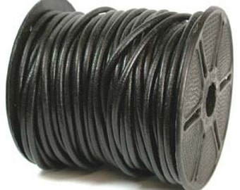 3mm (You Pick Length) Genuine LEATHER CORD BLACK  42982