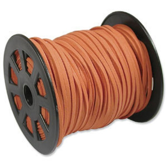 10 Feet - 3 x 1mm Ultra Microfiber Faux Leather Suede Necklace Cord DARK ORANGE 42793