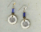 Blue Glass and Natural Elk Antler Earrings