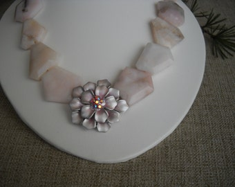 Pink Opal and Chrysanthemum Statement Necklace