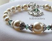 Eire. Swarovski Pearl, Crystal Bracelet, Claddagh Charm. Bridal. Irish.