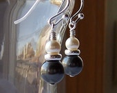 Tuxedo. Swarovski Black and White Pearl Earrings. Bridal. Sterling Silver.