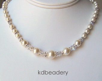 Swarovski Ivory Pearl and Crystal Necklace. Bridal. Silver.
