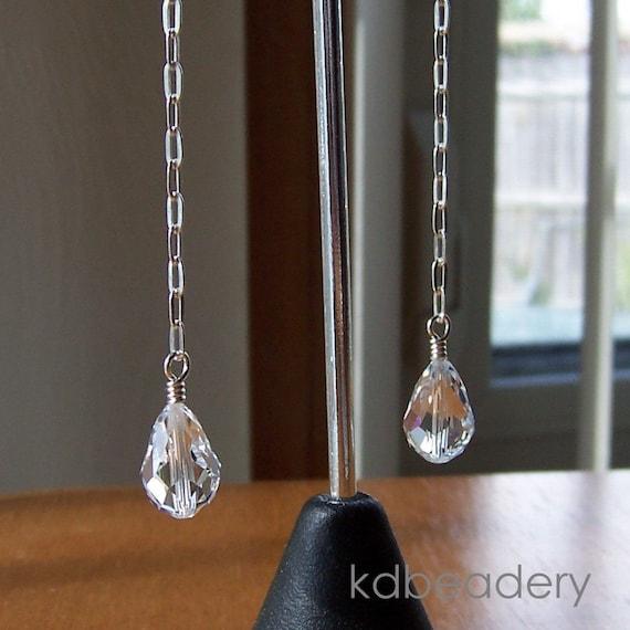 Crystal Teardrops. Swarovski Crystal and Sterling Silver Sweeper  Earrings.