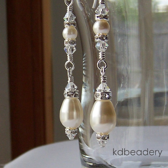 Sparkling Drops. Swarovski Pearl Earrings. Bridal. Sterling Silver.