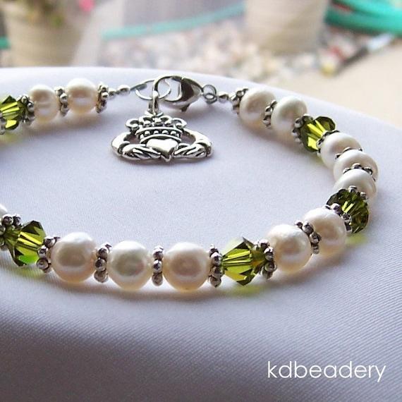 Erin. Pearl, Crystal and Irish Claddagh Charm Bracelet. Swarovski. Sterling Silver. Bridal.