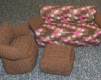 Crochet Pattern-Doll's Living Room Set