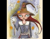Witch Art, Witch painting, pen and ink drawing, Drawing on vintage book page,