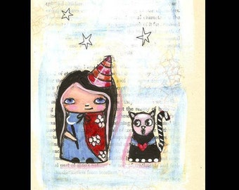 Kokeshi doll painting,witch and Cat,  Original Illustration, Funky Halloween Art