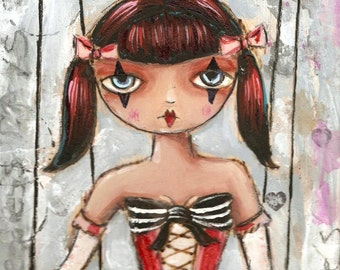 Carnival Circus  Girl Mixed media painting Original Redhead SALE