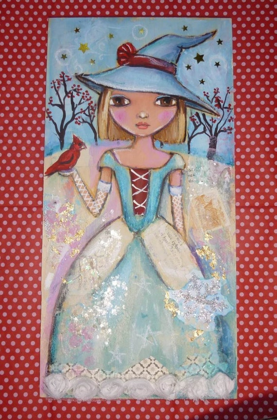 Witch with Cardinal Original RESERVED FOR CYNDY