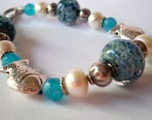 Blue Lampwork and Hill Tribe Sterling fish bracelet with pearls and quartz