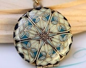 Round Brass Filigree Locket, Cream, Buttercream, Robin Egg Blue, Navy, Turquoise