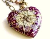 Locket, Wedding Necklace, Bridal Necklace, Bridesmaid Gift, Heart Locket, Purple Necklace, Lavender Necklace