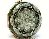 Locket, Picture Locket, Green Locket, Brass Filigree Locket, Vintage locket, Wedding Necklace, Bridal Necklace, Enameled Locket