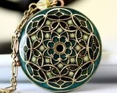 Locket, Blue Locket, Green Necklace, Stars, Vintage Locket, Bridesmaid Necklace, Filigree Necklace, Brass Necklace