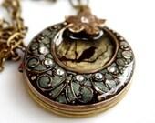 Green Bird Locket- Black, Bird Round Filigree Upcycled Vintage Necklace