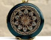 Locket, Vintage Inspired, Blue, Green, Pearl Resin Locket Necklace, Anniversary Gift, Wedding Jewelry, Flower Necklace, Bridal Registry