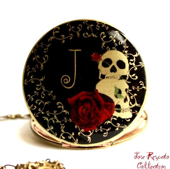 Personalized Gift, Locket, Gothic Necklace, Skull, Image Locket, Red, Black, Vintage Locket, Personalized Necklace, Bridal Necklace