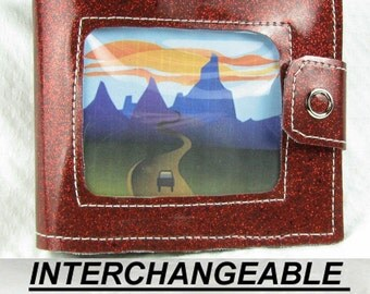 Vinyl Wallet - Red Glitter - With Changeable Picture Window