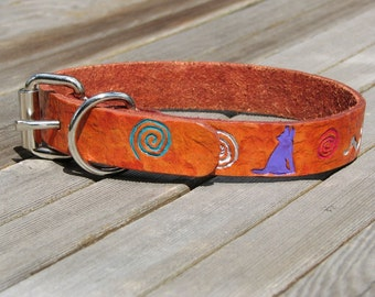 Leather Dog Collar - SW Petroglyph Rock Art