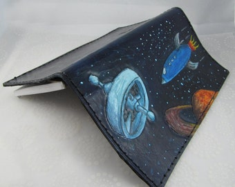 Leather Check Book cover - Journey Through Space