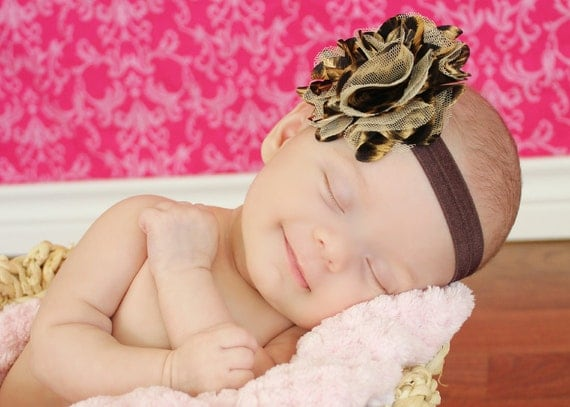 Newborn leopard baby headband othere sizes also available