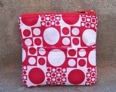 SALE - Red and White Circle and Squares Coin Purse or Wallet