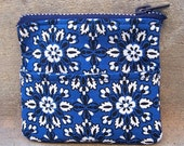 SALE - Blue Bandana Floral Coin Purse or Wallet