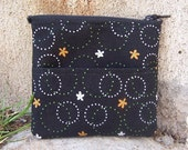 SALE - Black with Circles and Flowers Coin Purse or Wallet