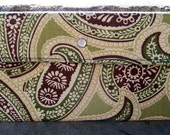 Green and Brown Paisley Clutch Made with Recycled Upholstery Fabric