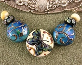 BONUS TODAY ONLY Lampwork Butterfly Garden Bead Set by Kerribeads
