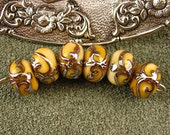 Lampwork Golden Shimmer Tapestry Beads by Kerribeads
