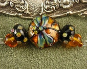 Lampwork Amber Mini Dragonfly Focal Bead Set by Kerribeads
