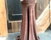 Velvet Six Hooker Skirt with Illusion Mesh Side Panels