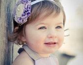 La Petit Fleur - Beautiful Handmade Flower Headband in Purple and White for Baby Girls Toddlers